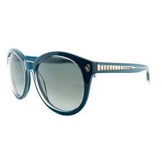 Alexander McQueen AMQ 4254 8SQ PT Petroleum Plastic Round Blue Gradient Lens Sunglasses
