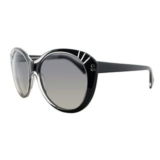Alexander McQueen AMQ 4230 7C5 VK Black Crystal Plastic Round Grey Gradient Lens Sunglasses