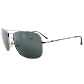 Burberry BE 3077 100587 Silver Metal Aviator Grey Lens Sunglasses