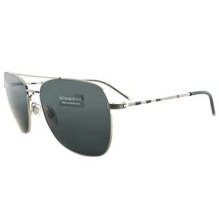 Burberry BE 3079 116687 Silver Metal Aviator Grey Lens Sunglasses