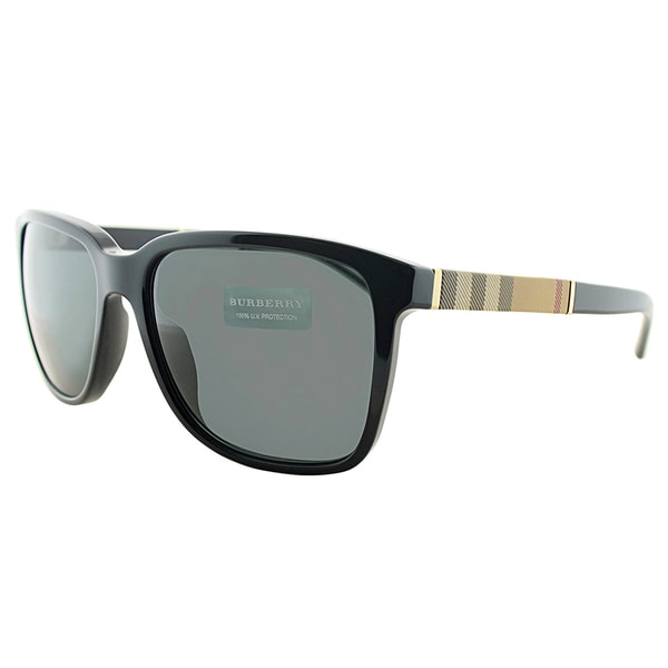 05c9af1c778 Burberry BE 4181 300187 Black Plastic Rectangle Grey Lens Sunglasses