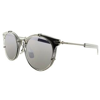 Dior Dior 0196/S JWI Crystal Palladium Plastic Round Silver Mirror Lens Sunglasses