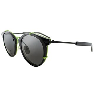 Dior Dior 0196/S TC8 Black Fluorescent Yellow Plastic Round Grey Lens Sunglasses