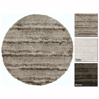 "Artist's Loom Hand-Woven Contemporary Solid Pattern Shag Rug (7'9"" Round)"