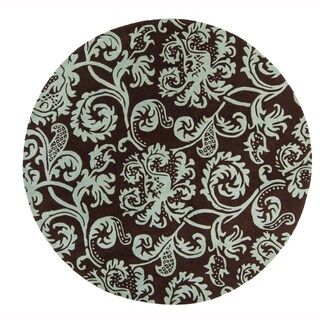 """Artist's Loom Hand-Tufted Contemporary Ornamental Pattern New Zealand Wool Rug (7'9"""" Round)"""