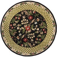 """Artist's Loom Hand-Tufted Traditional Floral Pattern Wool  Rug (7'9"""" Round)"""
