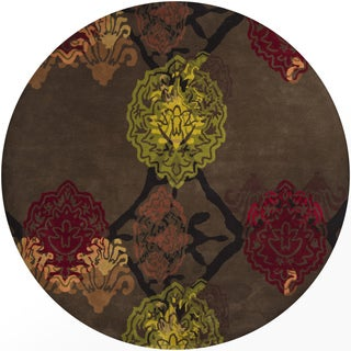 "Artist's Loom Hand-Tufted Contemporary Graphic Pattern New Zealand Wool Rug (7'9"" Round)"