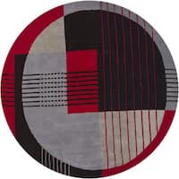 "Artist's Loom Hand-Tufted Contemporary Geometric Pattern New Zealand Wool Rug (7'9"" Round)"