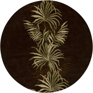 """Artist's Loom Hand-Tufted Contemporary Floral Pattern New Zealand Wool Rug (7'9"""" Round)"""