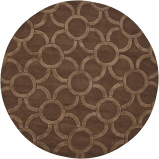 "Artist's Loom Hand-Tufted Contemporary Geometric Pattern Wool Rug (7'9"" Round)"