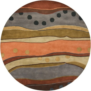 "Artist's Loom Hand-Tufted Contemporary Abstract Pattern Wool Rug (7'9"" Round)"