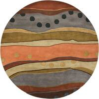 """Artist's Loom Hand-Tufted Contemporary Abstract Pattern Wool Rug (7'9"""" Round)"""