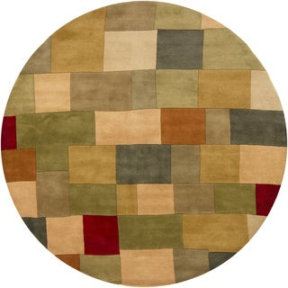 "Artist's Loom Hand-Tufted Casual Color Block Pattern Wool Rug (7'9"" Round)"