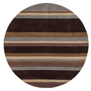 "Artist's Loom Hand-Tufted Casual Stripe Pattern Wool Rug (7'9"" Round)"