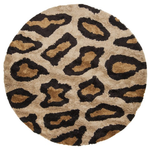 "Artist's Loom Hand-Woven Contemporary Animal Pattern Shag Rug (7'9"" Round)"