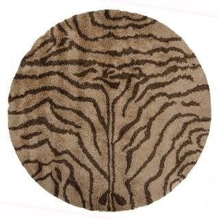 "Artist's Loom Hand-Woven Contemporary Animal Pattern Shag Rug (7'9"" Round)"
