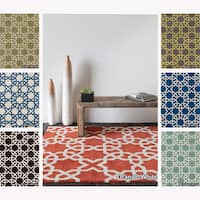 Artist's Loom Hand-Tufted Contemporary Geometric Pattern Wool Rug (7'x10')