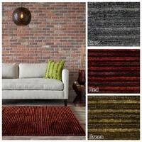 "Artist's Loom Hand-Woven Contemporary Stripe Pattern Shag Rug (7'9""x10'6"")"