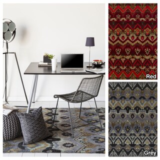 Artist's Loom Hand-Tufted Contemporary Ikat Pattern Wool Rug (9'x13')