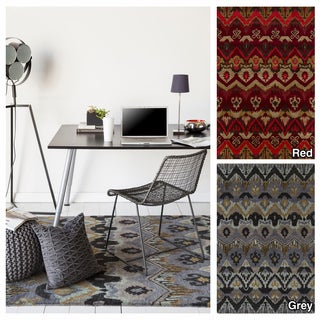"""Artist's Loom Hand-Tufted Contemporary Ikat Pattern Wool Rug (7'9""""x10'6"""")"""