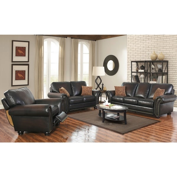 Abbyson Braxton Brown Bonded Leather 3 Piece Living Room Set - Free ...