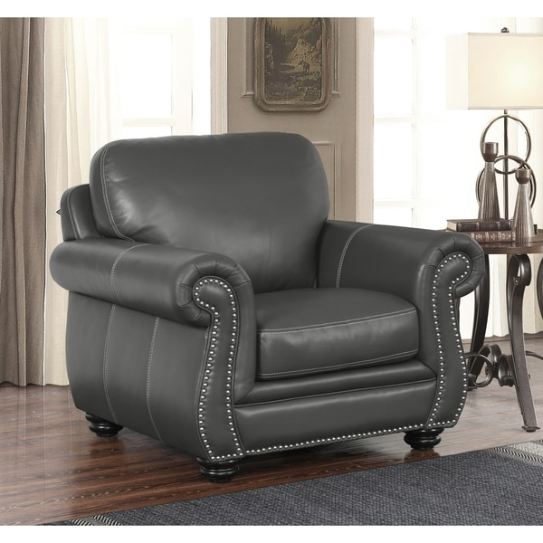 Abbyson Kassidy Grey Leather Armchair