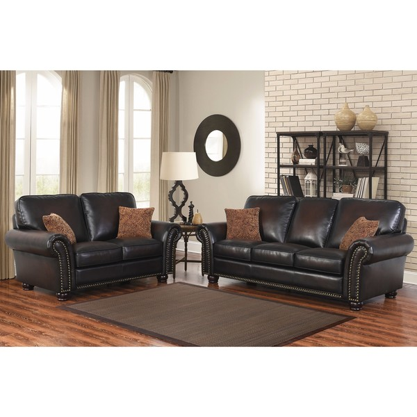 shop abbyson braxton brown bonded leather 2 piece living room set on sale free shipping. Black Bedroom Furniture Sets. Home Design Ideas