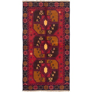 Ecarpetgallery Baluch Brown, Red  Wool Rug (3'5 x 6'5)