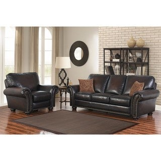 Abbyson Braxton 2-piece Leather Sofa and Recliner