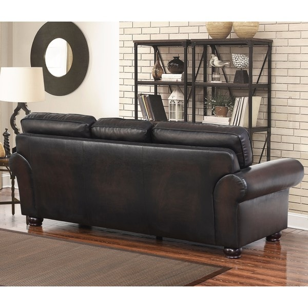 Abbyson Braxton Leather Sofa Free Shipping Today Overstockcom