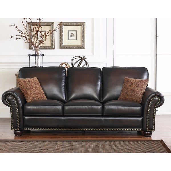 Shop Abbyson Braxton Brown Bonded Leather Sofa - Free Shipping Today ...