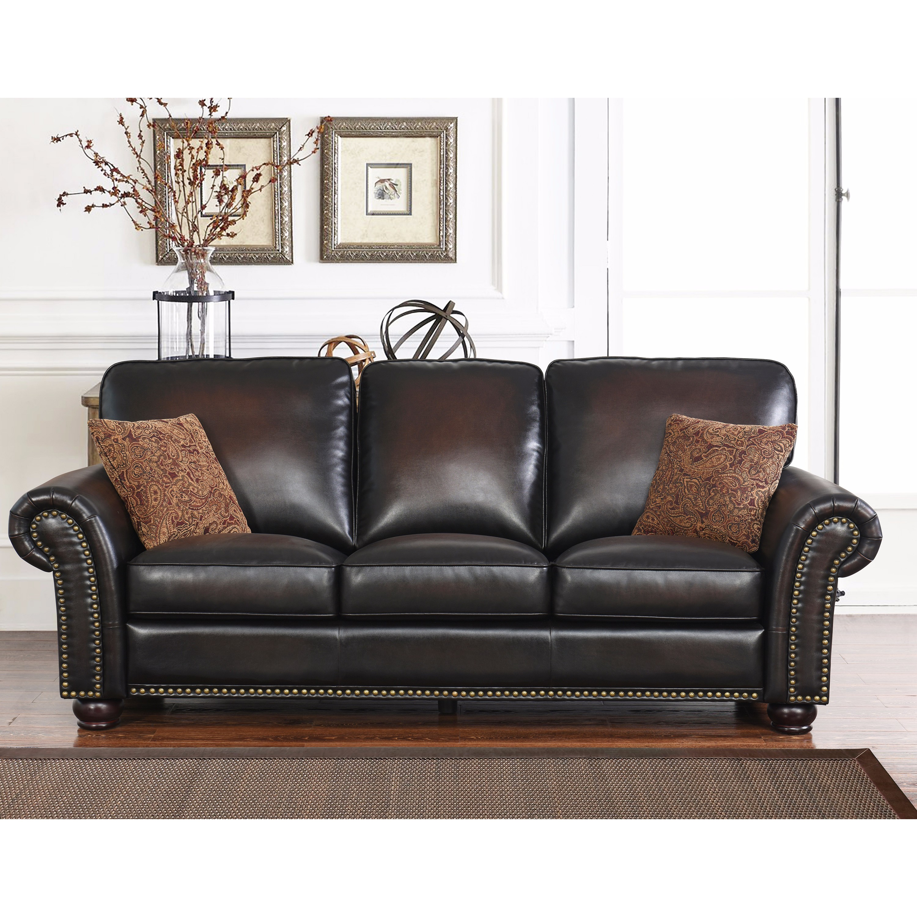 Details about Abbyson Braxton Brown Bonded Leather Sofa Brown