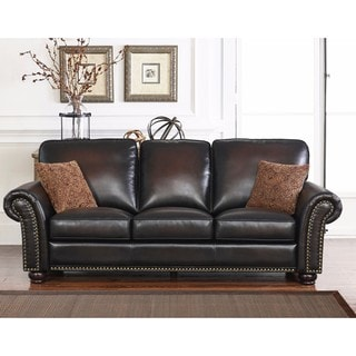 Shop Abbyson Braxton Brown Bonded Leather Loveseat On Sale Free