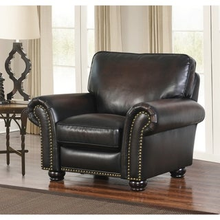 Abbyson Braxton Brown Bonded Leather Push-back Recliner