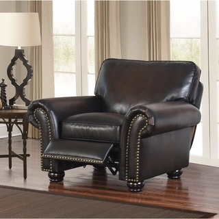 Abbyson Braxton Brown Hand-rubbed Leather Push-back Recliner