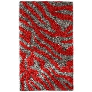 Noble House Inc Pearl Red and Grey Polyester Shag Area Rug (8'x11')