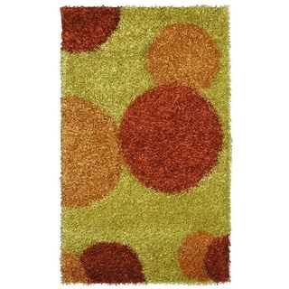 Noble House Inc Pearl Shag Green Polyester Rug (8'x11')