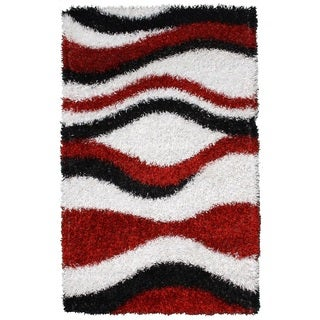 Noble House Inc Pearl Red Polyester Shag Rug (5'x8')