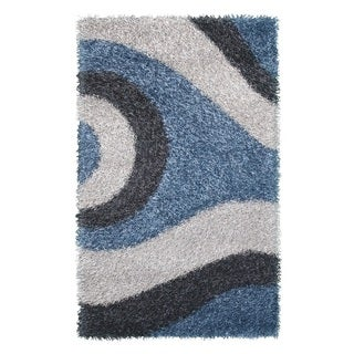 Noble House Inc Pearl Blue/Grey/Silver Polyester Shag Rug (5' x 8')