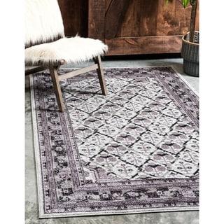 Unique Loom La Jolla Traditional Light Grey/Black/Grey/Purple Polypropylene Rectangular Rug (3'2 x 5'2)