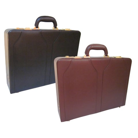 Amerileather Expandable Caden Executive Black or Brown Microfiber and Faux Leather Attache Briefcase