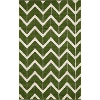 Green Polypropylene Chevron-patterned Area Rug (3'2 x 5'2)