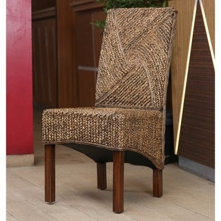 International Caravan 'Lambada' Woven Hyacinth Dining Chairs with Mahogany Hardwood Frame (Set of 2) (As Is)