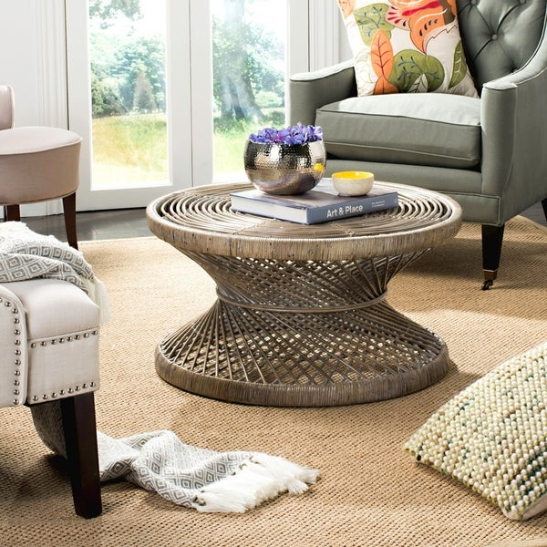 """SAFAVIEH Grimson Large Bowed Coffee Table - 31.5"""" x 31.5"""" x 15.7"""". Opens flyout."""