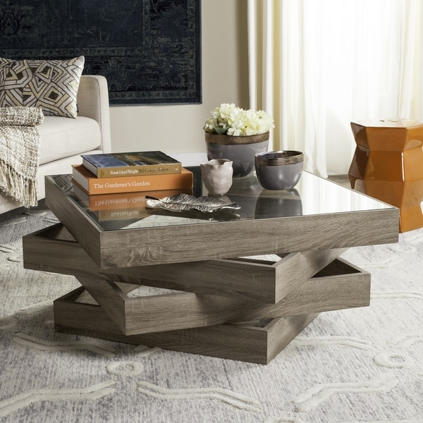 30 Live Edge Coffee Tables That Transform The Living Room: Shop Safavieh Anwen Geometric Wood Coffee Table