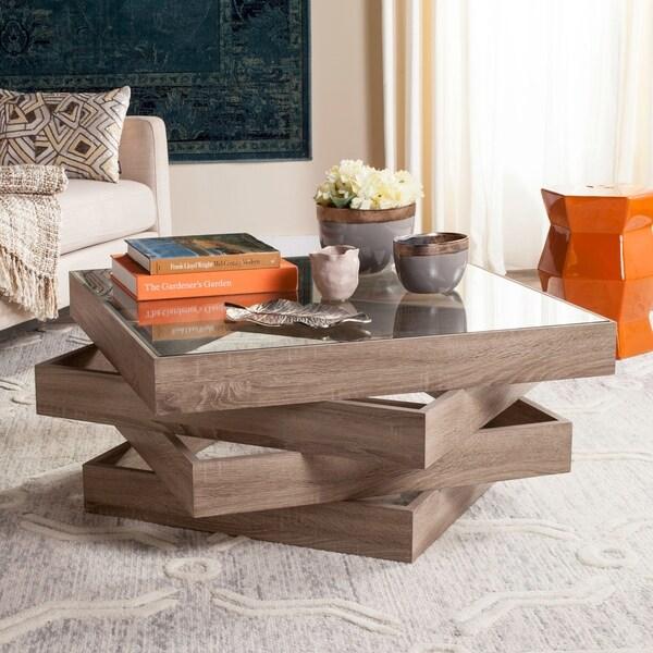 "Safavieh Anwen Modern Geometric Stacked Wood Coffee Table - 33.5"" x 33.5"" x 15.8"""