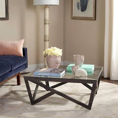 "Safavieh Mid-Century Ralston Glass Top Coffee Table - 33.5"" x 33.5"" x 14.5"""