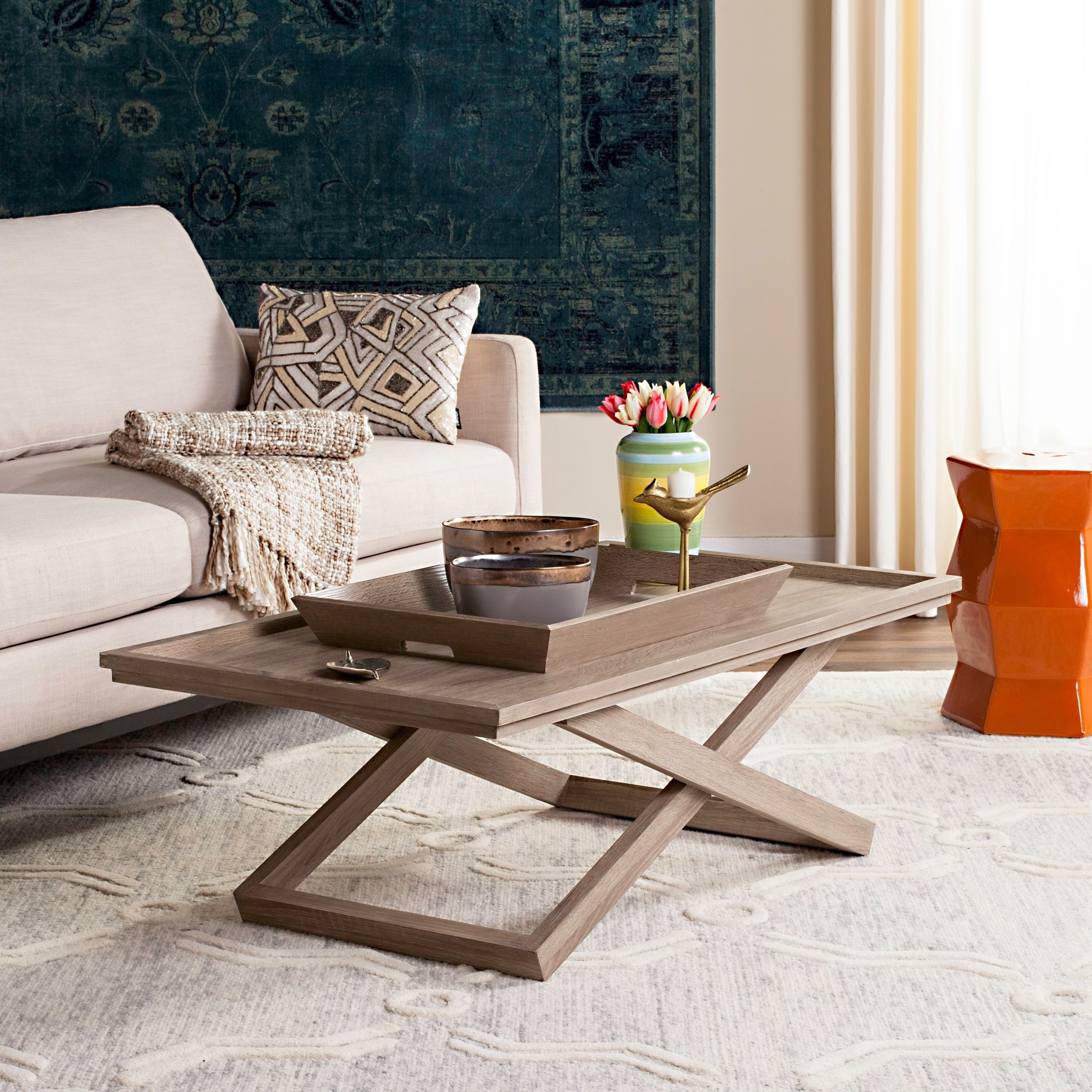 Safavieh Arleana Cross Leg Coffee Table Tray 43 3 X 23 6 X 14 5 Overstock 13339544