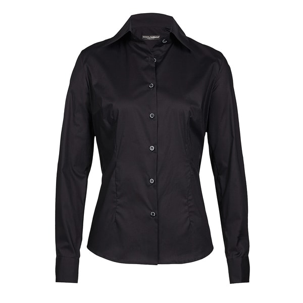 8b008afb Shop Dolce & Gabbana Women's Black Cotton Button-up Blouse - On Sale - Free  Shipping Today - Overstock - 13339572