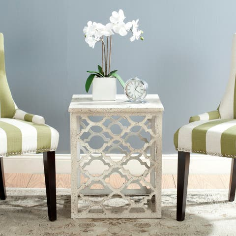 """Safavieh Lonny Distressed White End Table - 18.8"""" x 18.8"""" x 22.5"""""""